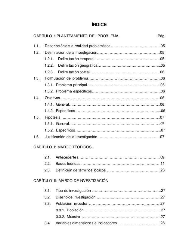 ÍNDICE CAPITULO I: PLANTEAMIENTO DEL PROBLEMA Pág. 1.1. Descripción de la realidad problemática………………………………….05 1.2. Delim...