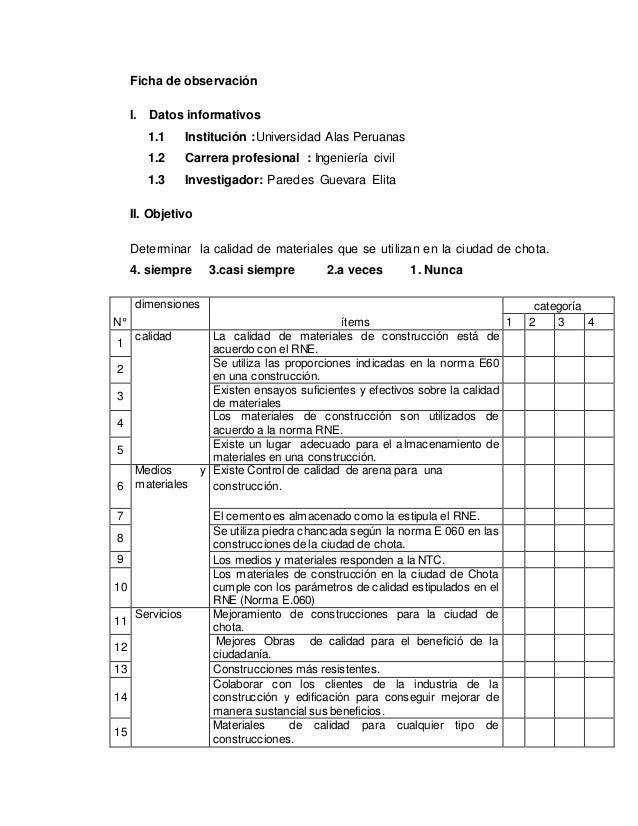 Ficha de observación I. Datos informativos 1.1 Institución :Universidad Alas Peruanas 1.2 Carrera profesional : Ingeniería...