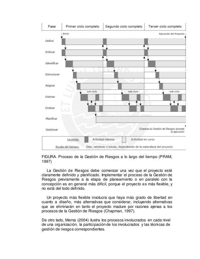 FIGURA. Proceso de la Gestión de Riesgos a lo largo del tiempo (PRAM, 1997) La Gestión de Riesgos debe comenzar una vez qu...
