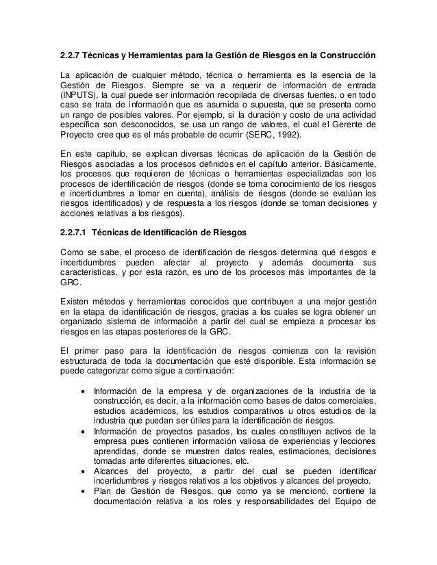 Proyecto la contemplación de actividades de la GRC y su participación en el presupuesto y cronograma, las categorías de ri...