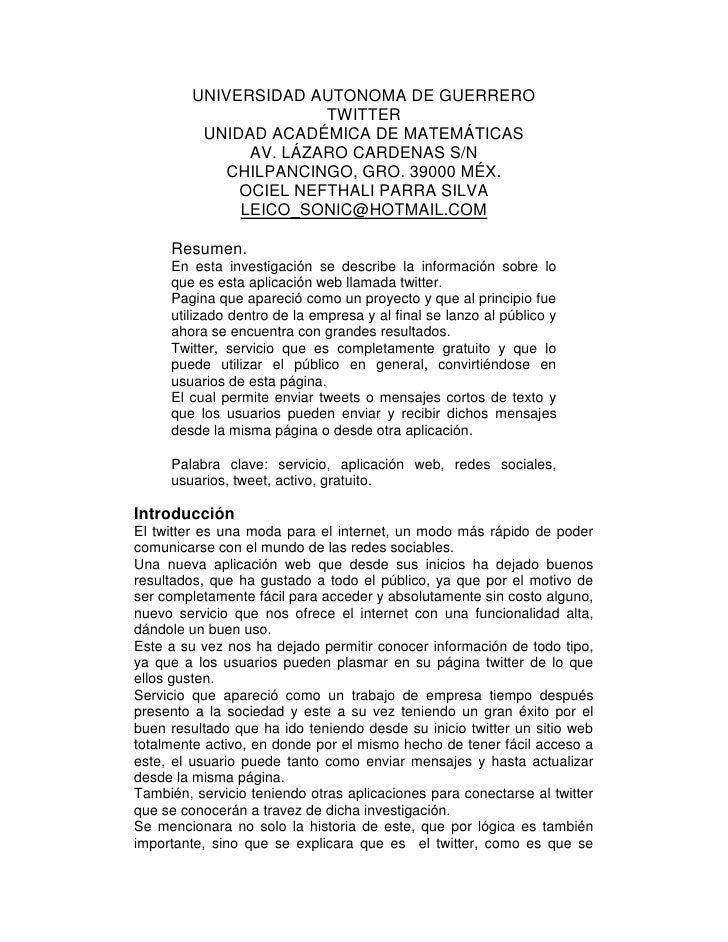 UNIVERSIDAD AUTONOMA DE GUERRERO<br />TWITTER<br />UNIDAD ACADÉMICA DE MATEMÁTICAS<br />AV. LÁZARO CARDENAS S/N<br />CHILP...