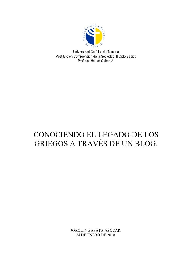 Universidad Católica de Temuco      Postítulo en Comprensión de la Sociedad II Ciclo Básico                     Profesor H...