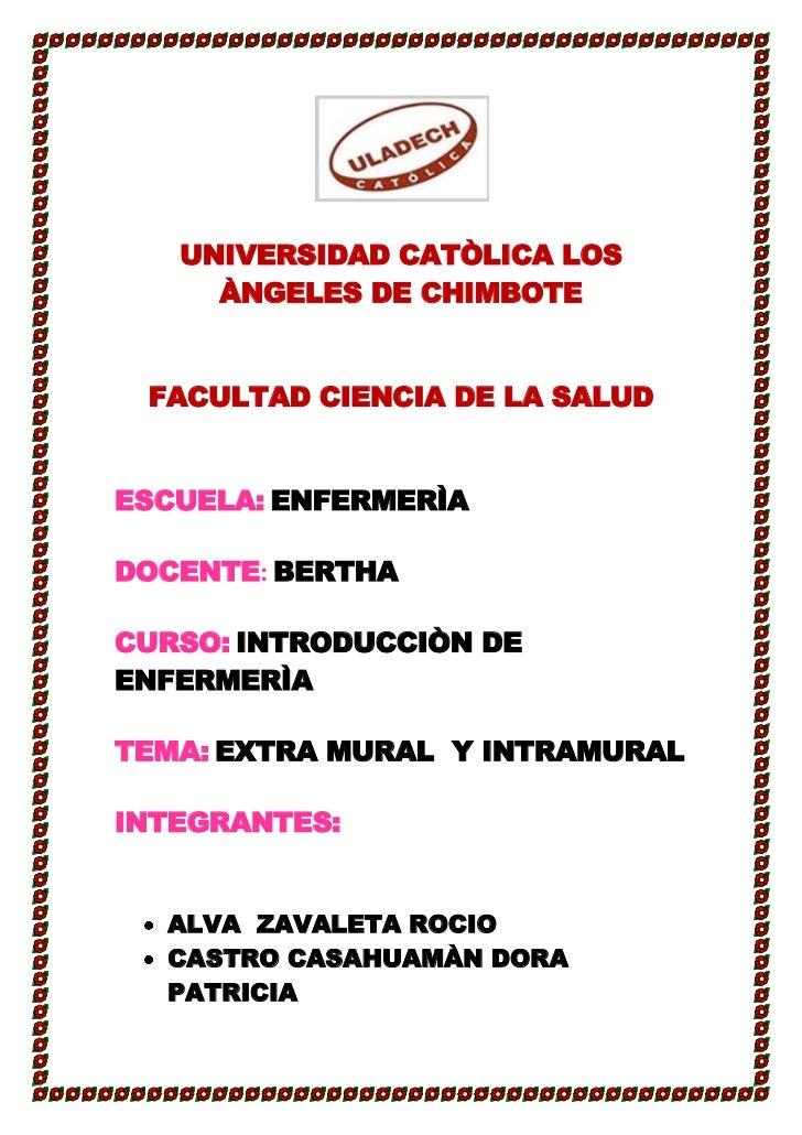 UNIVERSIDAD CATÒLICA LOS     ÀNGELES DE CHIMBOTE FACULTAD CIENCIA DE LA SALUDESCUELA: ENFERMERÌADOCENTE: BERTHACURSO: INTR...