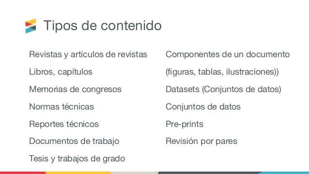 Tipos de contenido Revistas y artículos de revistas Libros, capítulos Memorias de congresos Normas técnicas Reportes técni...