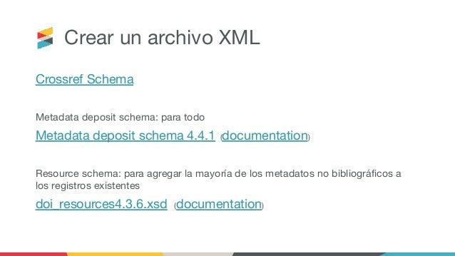 Crear un archivo XML Crossref Schema Metadata deposit schema: para todo Metadata deposit schema 4.4.1 (documentation) Reso...