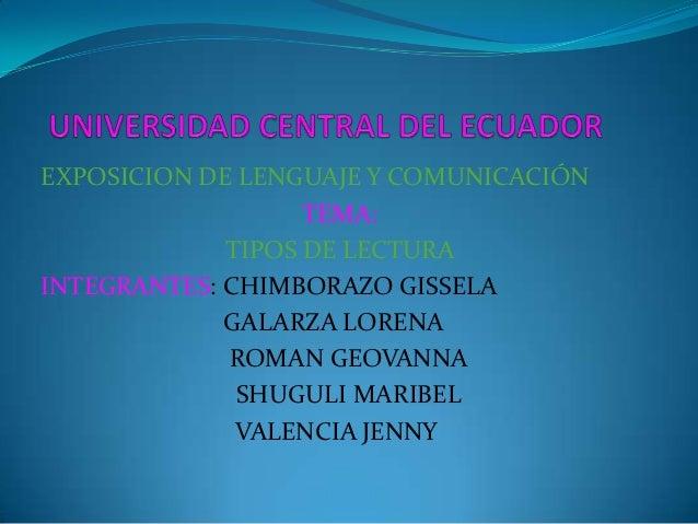 EXPOSICION DE LENGUAJE Y COMUNICACIÓN                   TEMA:             TIPOS DE LECTURAINTEGRANTES: CHIMBORAZO GISSELA ...
