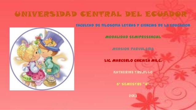 UNIVERSIDAD CENTRAL DEL ECUADORFACULTAD DE FILOSOFIA LETRAS Y CIENCIAS DE LA EDUCACIONMODALIDAD SEMIPRESENCIALMENSION PARV...