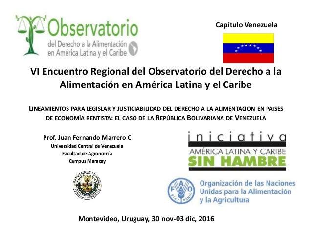 VI Encuentro Regional del Observatorio del Derecho a la Alimentación en América Latina y el Caribe LINEAMIENTOS PARA LEGIS...