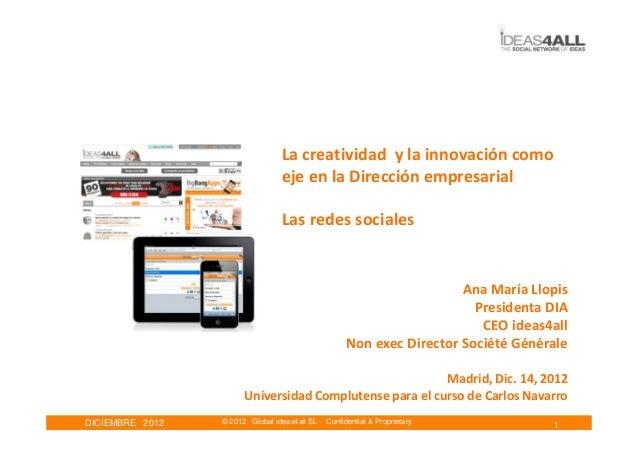 La creatividad y la innovación como                                  eje en la Dirección empresarial                      ...