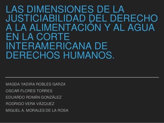 LAS DIMENSIONES DE LA JUSTICIABILIDAD DEL DERECHO A LA ALIMENTACIÓN Y AL AGUA EN LA CORTE INTERAMERICANA DE DERECHOS HUMAN...