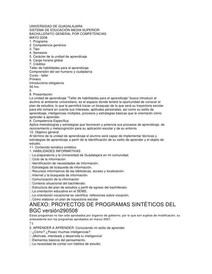 UNIVERSIDAD DE GUADALAJARA<br />SISTEMA DE EDUCACIÓN MEDIA SUPERIOR<br />BACHILLERATO GENERAL POR COMPETENCIAS<br />MAYO 2...