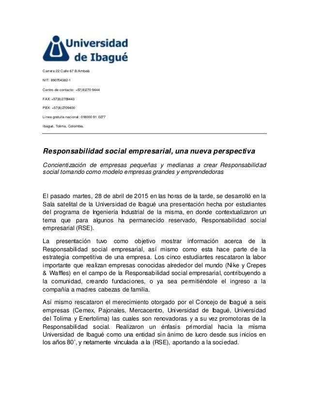 Universidad De Ibague Carta De Prensa
