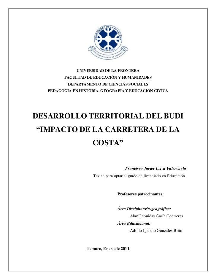 UNIVERSIDAD DE LA FRONTERA          FACULTAD DE EDUCACIÓN Y HUMANIDADES           DEPARTAMENTO DE CIENCIAS SOCIALES   PEDA...