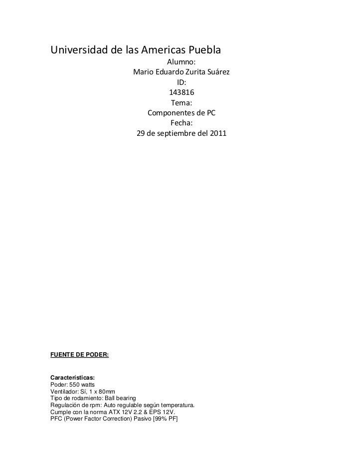 Universidad de las Americas Puebla                                      Alumno:                             Mario Eduardo ...