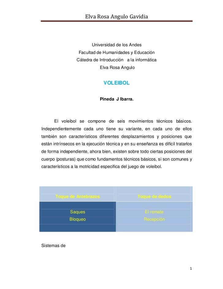 Elva Rosa Angulo Gavidia                           Universidad de los Andes                    Facultad de Humanidades y E...