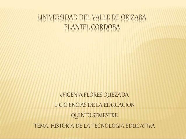UNIVERSIDAD DEL VALLE DE ORIZABA PLANTEL CORDOBA eFIGENIA FLORES QUEZADA LIC.CIENCIAS DE LA EDUCACION QUINTO SEMESTRE TEMA...