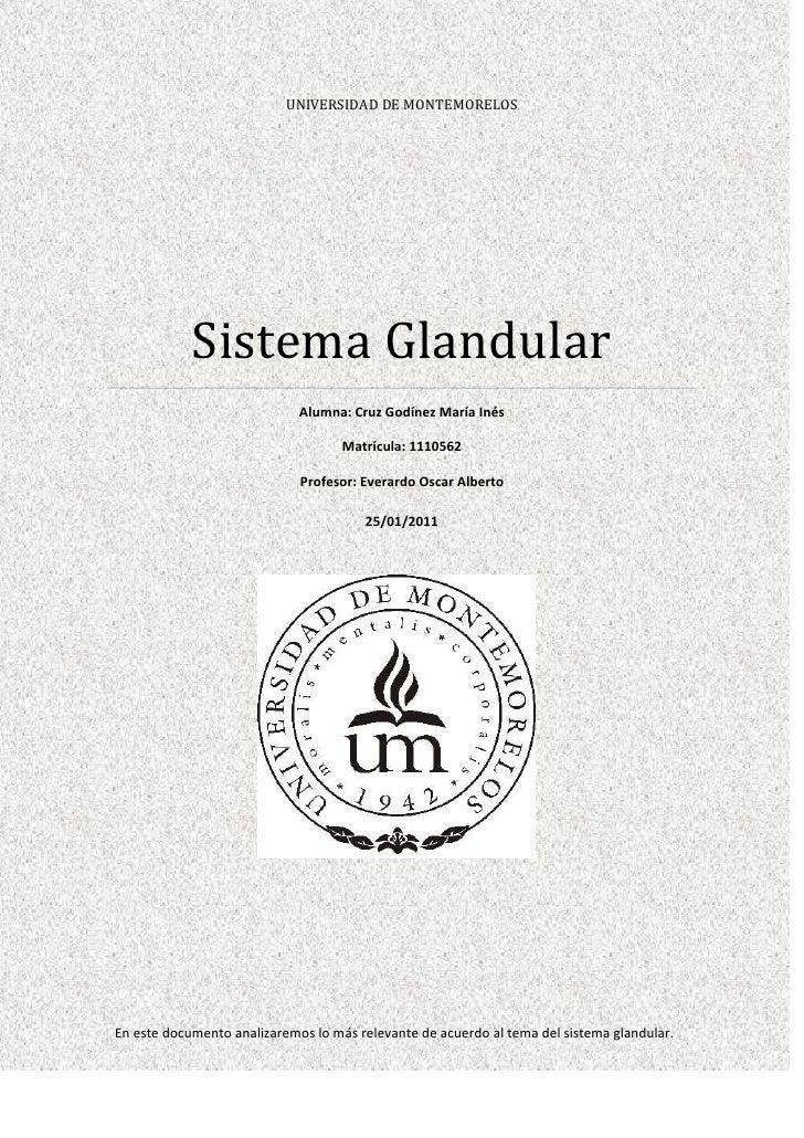 UNIVERSIDAD DE MONTEMORELOS            Sistema Glandular                             Alumna: Cruz Godínez María Inés      ...