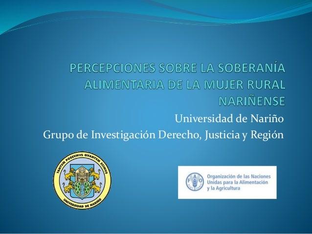 Universidad de Nariño Grupo de Investigación Derecho, Justicia y Región
