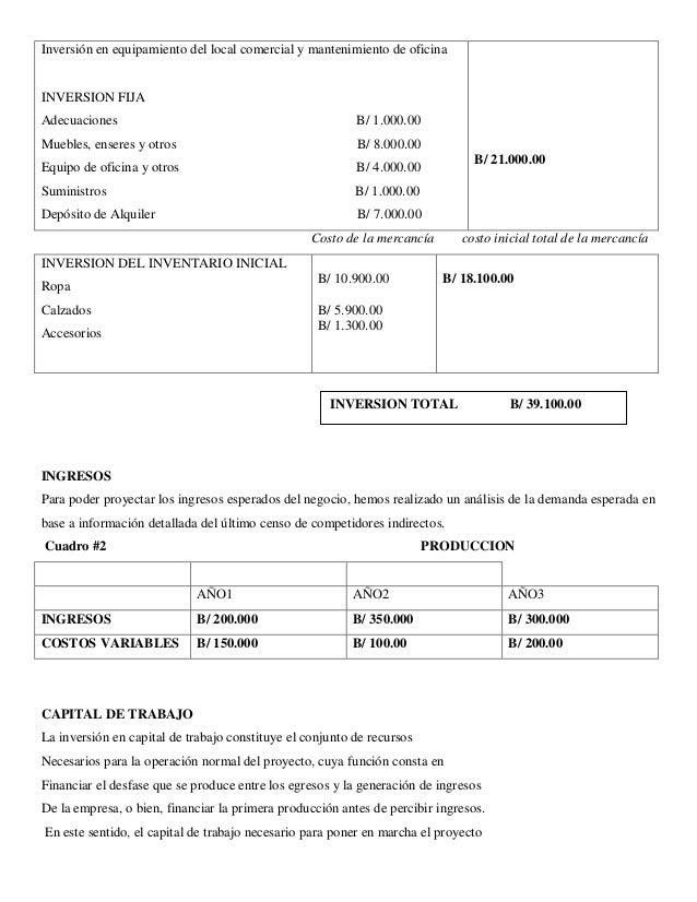 Inversión en equipamiento del local comercial y mantenimiento de oficina  INVERSION FIJA  Adecuaciones B/ 1.000.00  Mueble...