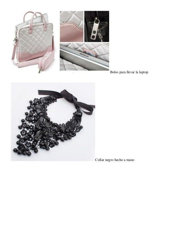 Bolso para llevar la laptop  Collar negro hecho a mano
