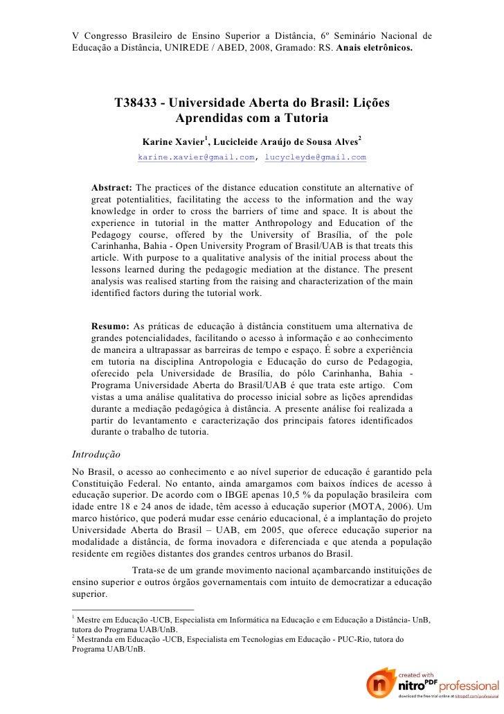 V Congresso Brasileiro de Ensino Superior a Distância, 6º Seminário Nacional de Educação a Distância, UNIREDE / ABED, 2008...