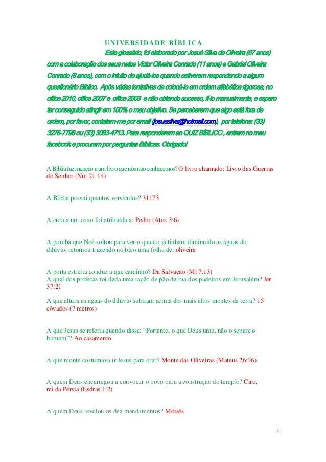 UNIVERSIDADE BÍBLICA                       Este glossário, foi elaborado por Josué Silva de Oliveira (67 anos)com a colabo...