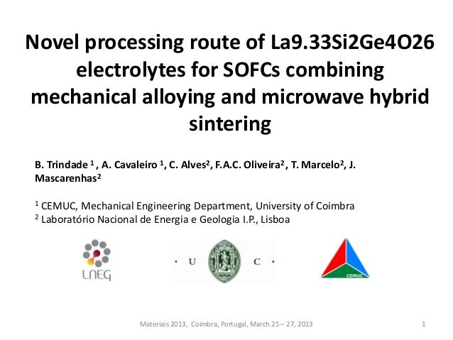 Novel processing route of La9.33Si2Ge4O26 electrolytes for SOFCs combining mechanical alloying and microwave hybrid sinter...
