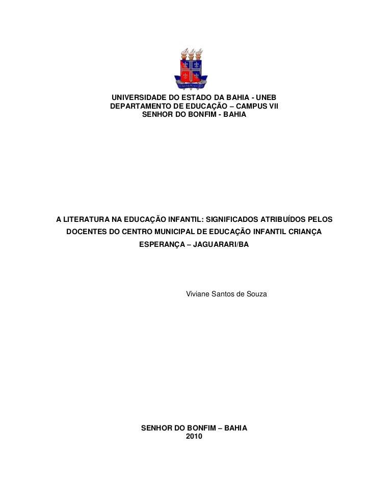 UNIVERSIDADE DO ESTADO DA BAHIA - UNEB            DEPARTAMENTO DE EDUCAÇÃO – CAMPUS VII                   SENHOR DO BONFIM...