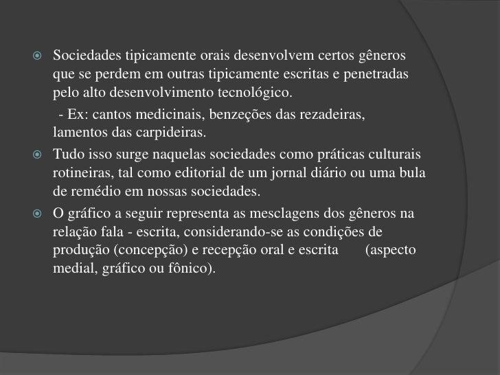 Concepção (oral)             • Em (A) – o domínio tipicamente                                           falado quanto ao m...