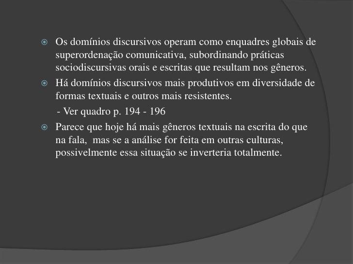 Gêneros textuais por domínios discursivos e modalidades           Domínio discursivo: Instrucional      Escrita           ...