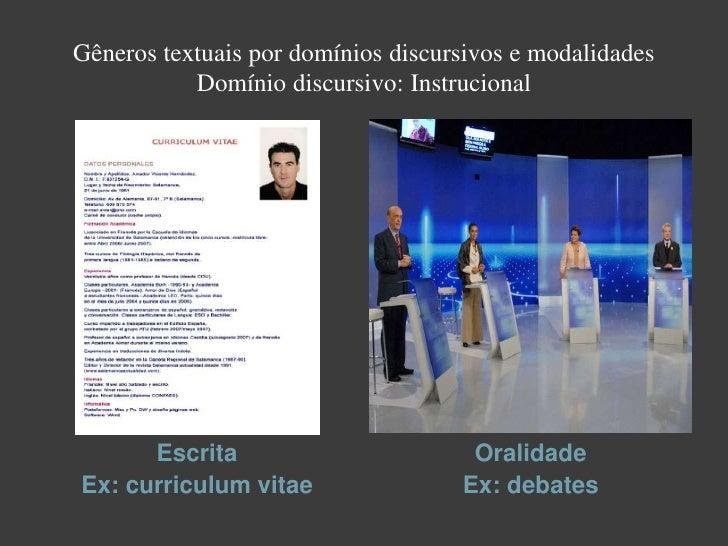Domínio discursivo: Jornalístico    Escrita                     OralidadeEx: reportagem          Ex: entrevista jornalística