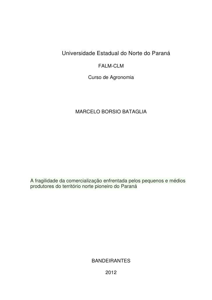 Universidade Estadual do Norte do Paraná                             FALM-CLM                         Curso de Agronomia  ...