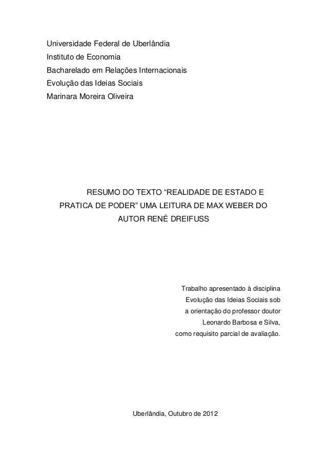 Universidade Federal de UberlândiaInstituto de EconomiaBacharelado em Relações InternacionaisEvolução das Ideias SociaisMa...