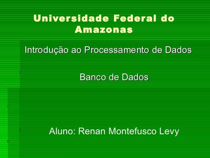 Universidade Federal do Amazonas Introdução ao Processamento de Dados Banco de Dados Aluno: Renan Montefusco Levy