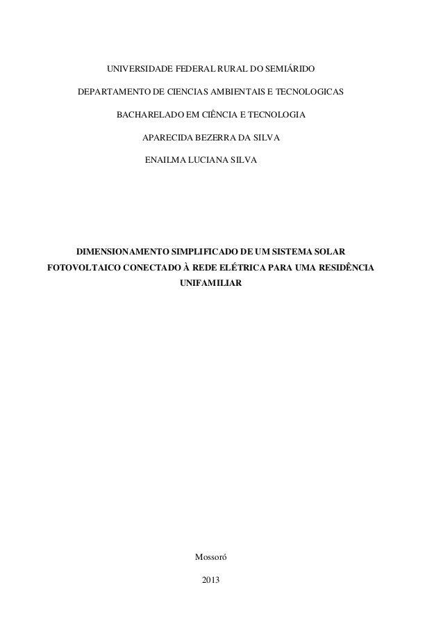UNIVERSIDADE FEDERAL RURAL DO SEMIÁRIDO DEPARTAMENTO DE CIENCIAS AMBIENTAIS E TECNOLOGICAS BACHARELADO EM CIÊNCIA E TECNOL...