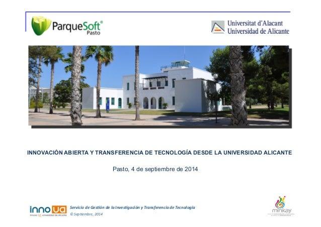INNOVACIÓN ABIERTA Y TRANSFERENCIA DE TECNOLOGÍA DESDE LA UNIVERSIDAD ALICANTE  Pasto, 4 de septiembre de 2014  Servicio d...