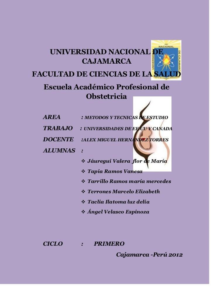 UNIVERSIDAD NACIONAL DE         CAJAMARCAFACULTAD DE CIENCIAS DE LA SALUD  Escuela Académico Profesional de             Ob...