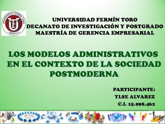 UNIVERSIDAD FERMÍN TORODECANATO DE INVESTIGACIÓN Y POSTGRADO  MAESTRÍA DE GERENCIA EMPRESARIAL                       PARTI...