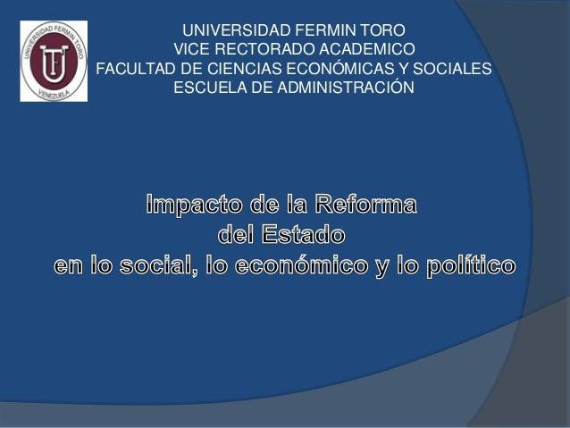 UNIVERSIDAD FERMIN TORO VICE RECTORADO ACADEMICO FACULTAD DE CIENCIAS ECONÓMICAS Y SOCIALES ESCUELA DE ADMINISTRACIÓN