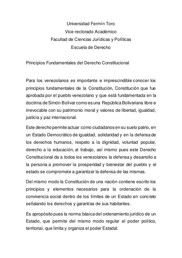 Universidad Fermín Toro Vice-rectorado Académico Facultad de Ciencias Jurídicas y Políticas Escuela de Derecho Principios ...