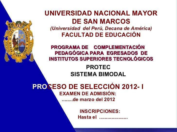 Universidad mayor de san marcos ofrece programa de complementacion pe…