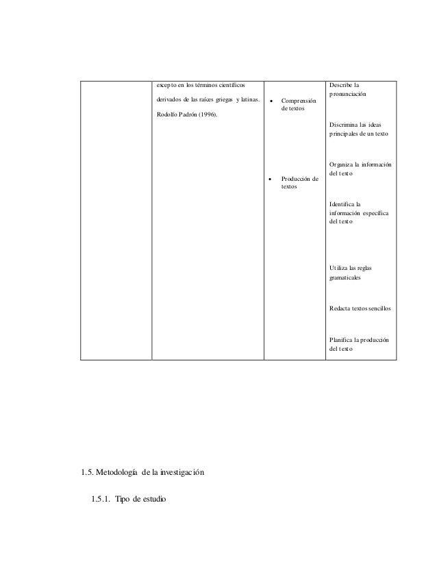 excepto en los términos científicos derivados de las raíces griegas y latinas. Rodolfo Padrón (1996).  Comprensión de tex...