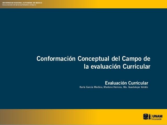 Conformación Conceptual del Campo de  la evaluación Curricular  Evaluación Curricular  Karla García Medina, Marlene Herrer...