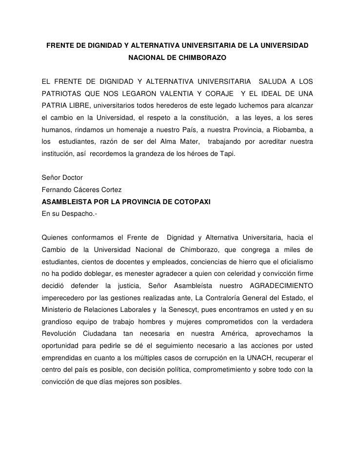 FRENTE DE DIGNIDAD Y ALTERNATIVA UNIVERSITARIA DE LA UNIVERSIDAD                              NACIONAL DE CHIMBORAZOEL FRE...