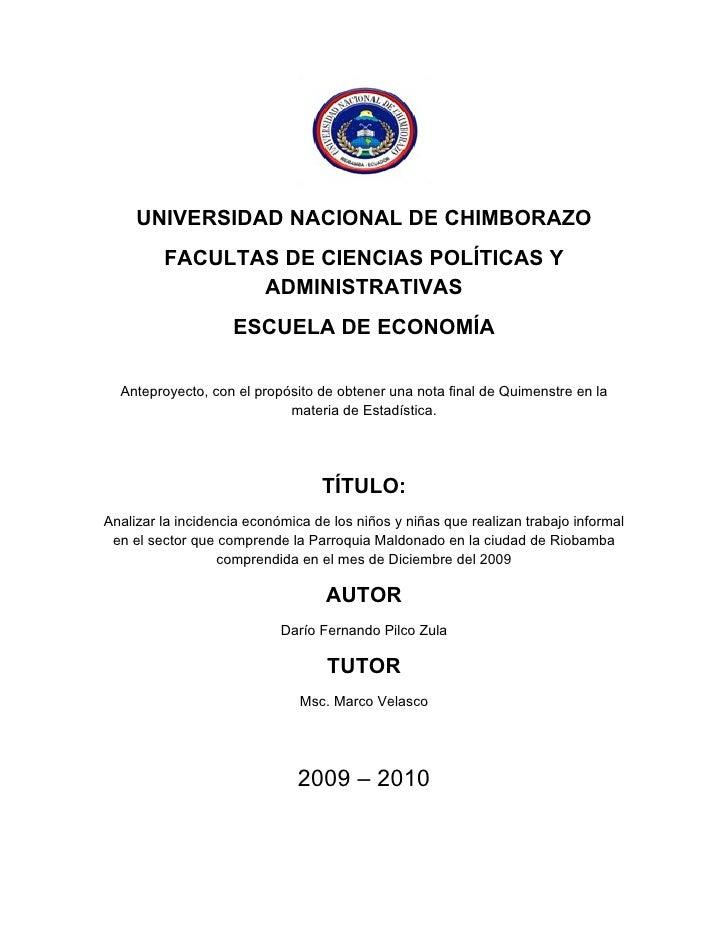UNIVERSIDAD NACIONAL DE CHIMBORAZO          FACULTAS DE CIENCIAS POLÍTICAS Y                 ADMINISTRATIVAS              ...