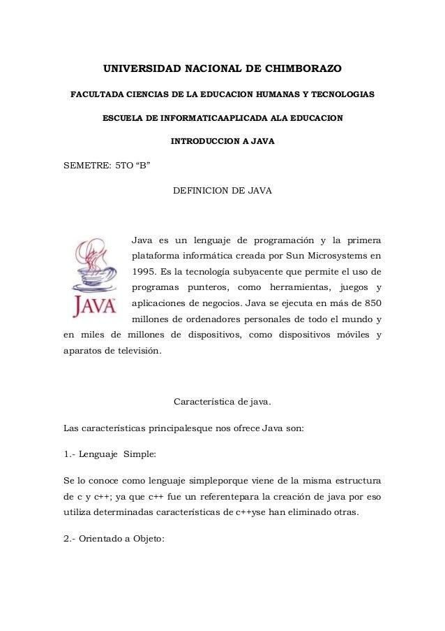 UNIVERSIDAD NACIONAL DE CHIMBORAZO FACULTADA CIENCIAS DE LA EDUCACION HUMANAS Y TECNOLOGIAS ESCUELA DE INFORMATICAAPLICADA...