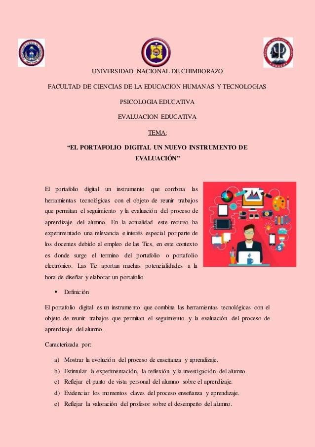 UNIVERSIDAD NACIONAL DE CHIMBORAZO FACULTAD DE CIENCIAS DE LA EDUCACION HUMANAS Y TECNOLOGIAS PSICOLOGIA EDUCATIVA EVALUAC...