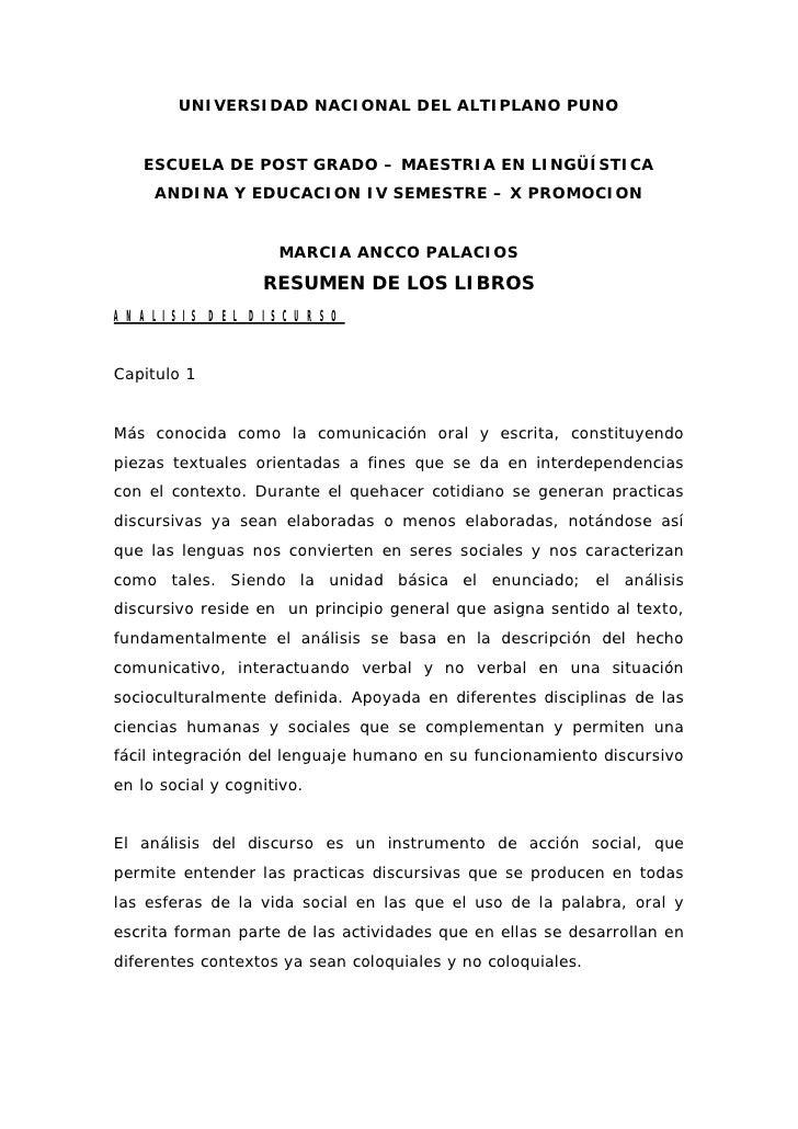 UNIVERSIDAD NACIONAL DEL ALTIPLANO PUNO      ESCUELA DE POST GRADO – MAESTRIA EN LINGÜÍSTICA      ANDINA Y EDUCACION IV SE...