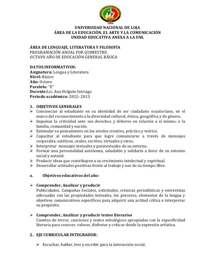 UNIVERSIDAD NACIONAL DE LOJA               ÁREA DE LA EDUCACIÓN, EL ARTE Y LA COMUNICACIÓN                      UNIDAD EDU...