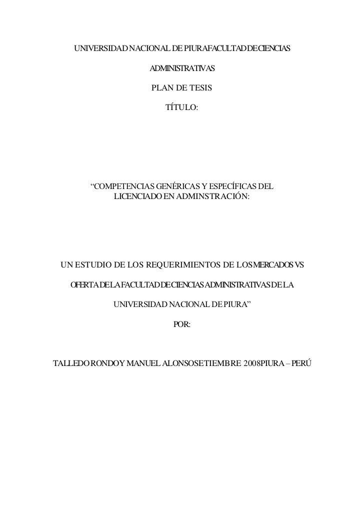 UNIVERSIDAD NACIONAL DE PIURAFACULTADDECIENCIAS                     ADMINISTRATIVAS                     PLAN DE TESIS     ...
